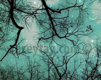 Boy Nursery Decor, Teal, Blue, Black, Smiling Moon & Stars, Surreal Nature Photography, Winter Sky