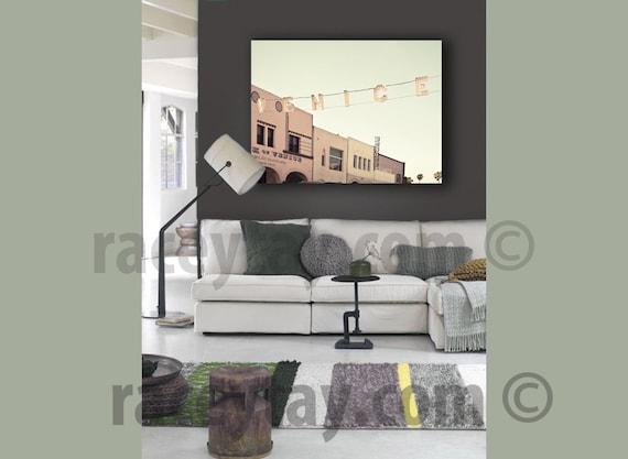 Large Canvas Art, Venice Beach Sign, Mint Green, Beige, Beach Decor, Large Wall Art Canvas, Bedroom Wall Art