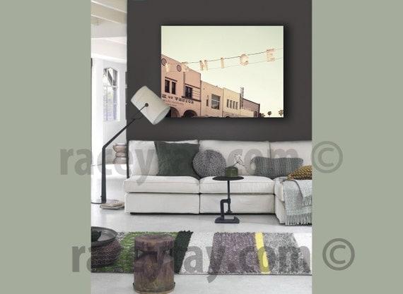 Large Canvas Art, Venice Beach Sign, Mint Green, Beige, 16x20 Canvas, Large Wall Art Canvas, Pastel Canvas, Mint Beach House Decor
