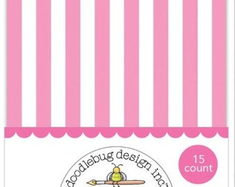 Pink Stripe Treat Bags - Small, Mini Paper Bag - Candy, Favor, Treat, Party, Trinket, Paper Pocket - Bubblegum and White, Stripes, Striped