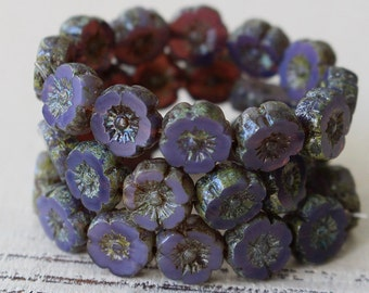 9mm Hawaiian Glass Flower Beads - Jewelry Making Supply - 9mm Pansy Flower  (12 or 6 Pansies ) Opaline Purple