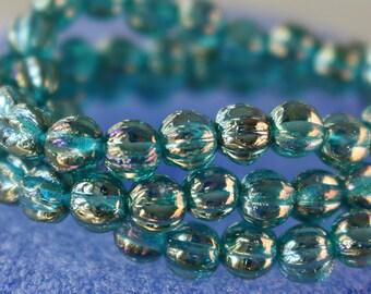 5mm Melon Bead - Czech Glass Beads - Jewelry making Supply - Aquamarine Luster - CHOOSE AMOUNT