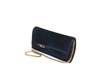 Vintage GUCCI Clutch Navy Suede Convertible Handbag Chain Strap  - AUTHENTIC -