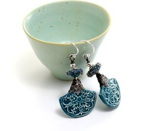 Deep Teal Glass Bead Earrings. Lampwork Earrings. Turquoise Ceramic Earrings. Tinwork Earrings. Glass Bead Jewelry.