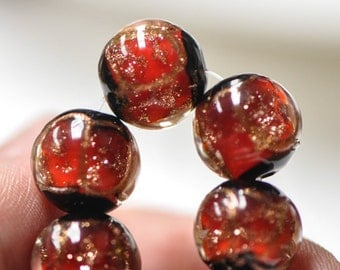 Lampwork Round Glass Beads Black Red 12mm-(LL22-7)/ 14Pcs