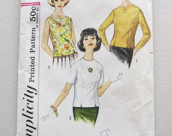 1960s Vintage Simplicity Top Blouse Sewing Pattern 4523 Size 12 Bust 32 Back Buttons