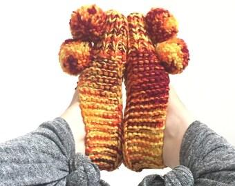 c1970's Crocheted Pom Pom Slippers