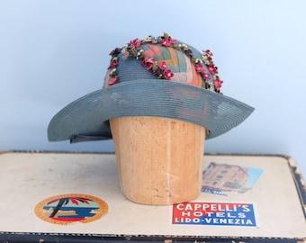 1920s straw mesh cloche hat / 20s cornflower blue cloche / Chevron Floral