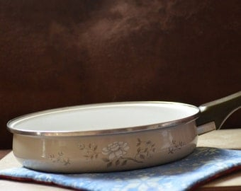 Frying Pan-Vintage JMP Porcelain on Steel Gourmet Cookware--Southampton Collection Cooking Pan-White Gray Floral Pan