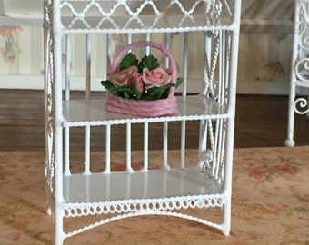 Miniature Bookcase, White Wire 3 Shelf, Dollhouse 1:12 Scale Miniature, 3 Tier Bookcase, Mini Book Case