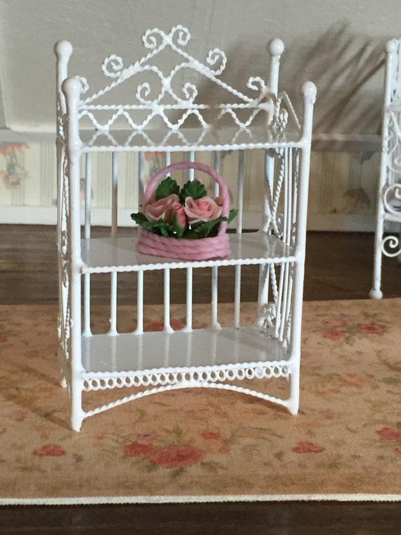Miniature Bookcase, White Wire 3 Shelf, Dollhouse 1:12 Scale Miniature, 3 Tier Bookcase