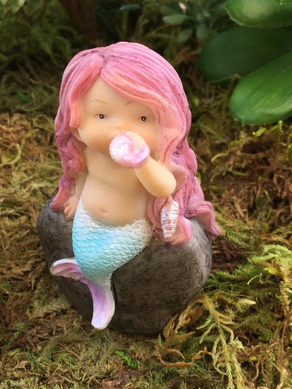 Miniature Mermaid Playing With Shell on Rock, Fairy Garden, Terrarium Accessory, Cake Topper