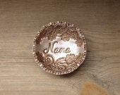 Gift for Nana Personalized Vintage Floral Lace Ring Bowl SMALL SIZE Jewelry Holder Dish For Her, Vintage Style Antique Bronze Pearl Finish