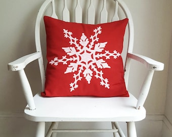 """Red Snowflake Holiday Pillow Cover 18"""" Square Christmas Winter Home Decor Nashville Tennessee Washable Cotton Wholesale"""