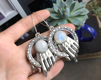 Rainbow Moonstone hand earrings, stretched ears, ear weights, 13g ea, sold per pair, Made to order