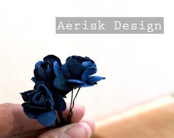 Midnight Black Bridal Rose (Rosie Posie design)(3 hair pins)  romantic pastel Rose Flower Rose Bobby Pins,Hair Clips for Wedding Hair updos