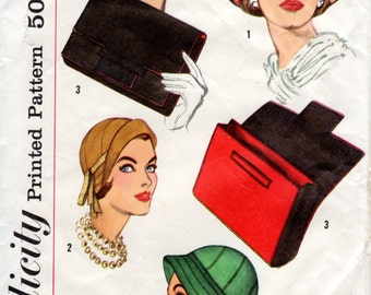 1950s Hats Accessories Pattern - Vintage Simplicity 2244 - 22 inch head size Original Pattern HATS only