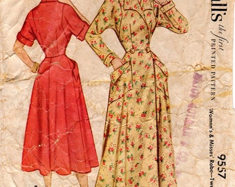 1950s Button Front Dress Housecoat Robe Pattern - Vintage McCalls 9557 - Bust 36