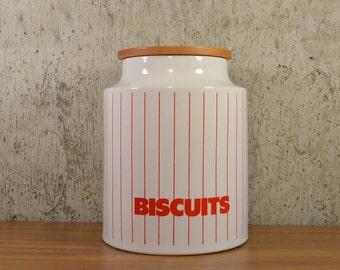Vintage Biscuit Canister Hornsea England Red Stripe