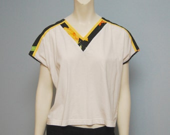 Vintage V-Neck Crop Top 1980's White with Black and Yellow Detail