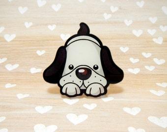 Playful Pup Acrylic Needle Minder - Strong Neodymium Magnet Acrylic Resin Plastic Cross Stitch Fridge Novelty