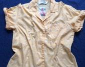 80s DVF Top / Polka Dot Button Up Shirt / Yellow and White Dotted Shirt / Nineties Shirt