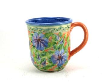 Orange Coffee Mug - Handmade Porcelain Tea Cup - Floral Design - One of a Kind - OOAK