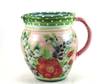 Ceramic Pitcher - Pink Porcelain Floral Handmade Water Pitcher with Polka Dots and Roses - Ceramic Creamer - Country Flower Vase