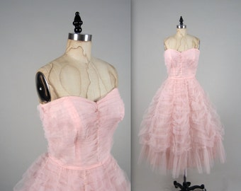 1950s strapless party dress • vintage 50s dress • tulle prom dress