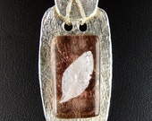 Fine Silver Pink Fused Glass Wire Wrapped Pendant