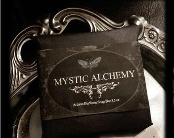 Mystic Alchemy Soap 3.5oz  Hand Milled Natural Artisan Herbal  Jasmine, Blueberry,Orris,Ylang Ylang, Violet Leaf ,Vanilla, Lavender,Vetiver