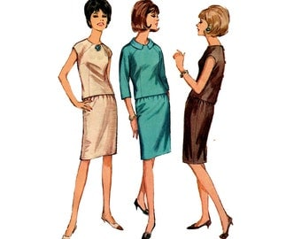 60s 2 Piece Dress Pattern Simplicity 6304 Raglan Sleeve Top & Pencil Skirt Sewing Pattern Size 16 Bust 36 inches UNUSED Factory Folded