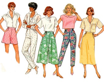 80s Butterick 3710 Culottes Flared Shorts Pants Skirt Vintage Sewing Pattern Size 14 16 Waist 28 30 inches