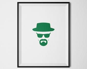 Walter White, Breaking Bad Art, Breaking Bad Print, Heisenberg, Heisenberg Wall Art, Breaking Bad Poster, Minimalist Art, Tv Show Poster