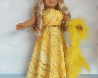 18 inch doll clothes - #273 Yellow Glitter Gown made to fit the American girl doll - FREE SHIPPING