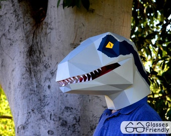Velociraptor Mask - You Supply the Paper, We Supply the Pattern! | Halloween Mask | Dinosaur Mask | Dinosaur Costume | DIY Mask