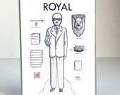 Royal Paper Doll Notecard - sinlge blank one-sided mini papaer doll note card for your inner martini drinking Tenenbaum  - by Mab Graves