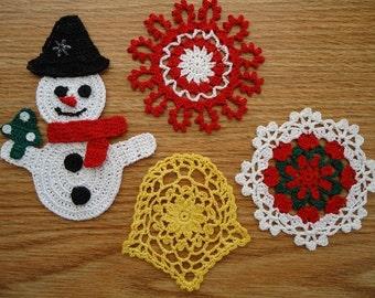 Crochet Christmas 4 Piece Set Ornaments Snowflakes