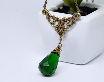 Emerald Green Pendant Necklace, Green Crystal Necklace, Large Teardrop Pendant Necklace, Antique Brass Filigree Necklace, Victorian Style