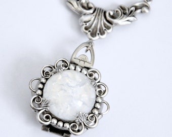 White Opal Locket Necklace, 4 Photo Locket Necklace, Silver 4 Picture Locket, Antique Silver Opal Necklace,  Four Way Locket, Filigree