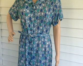 Vintage 50s Blue Sheer Print Dress 1950s XL L 16