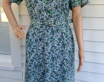 Vintage 50s Print Dress White Blue Green Cotton XL