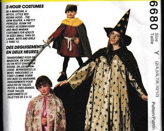 McCall's 6680 Magician,Witch,Little Red Riding Hood,The Grim Reaper, A Pretty Princess,Roam the Forest as Robin Hood and Maid Marion