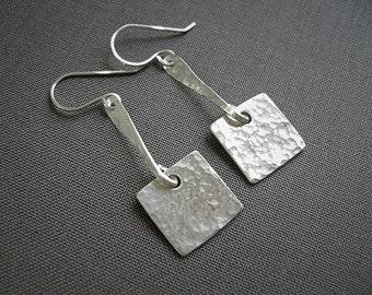Silver Earrings, Sterling Silver, Handmade Jewelry, Geometric Earrings, Silver Square, Hammered Silver, Minimalist Jewelry, 925 Silver, 985