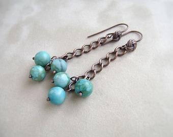 Turquoise Earrings, Jasper Earrings, Copper Jewelry, Cluster Earrings, Chain Earrings, Blue Earrings, Boho Earrings, Jasper Jewelry,