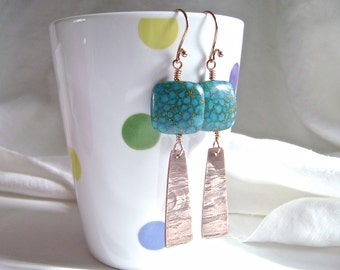 Mosaic Turquoise Earrings, Copper Trapezoid, Oxidized, Etched Copper, Handmade, Artisan Jewelry, Long Earrings, 968
