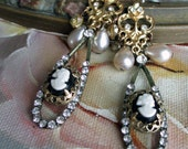 EARRINGS - vintage cameos rhinestones glass pearl drops black white gold dangle charm haskell style, the french circus by robyn parrish