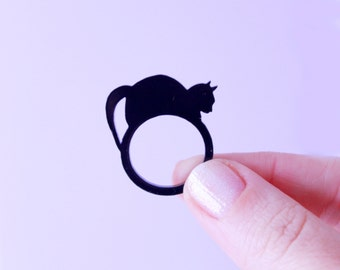 cat lover gifts. cat ring. black cat. cat jewelry. gift for her. statement ring. handmade jewelry. handmade ring. black cat jewelry