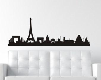 Paris Wall Decal - Paris Silhouette - City Skyline Decal - Paris Decal - City Silhouette - Eiffel Tower Wall Decal - Paris