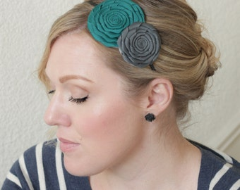 Handmade Flower Headband, Teal Hairband,  Gray Headband for Women